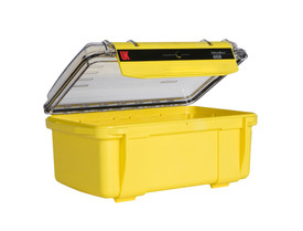 UK 408 UltraBox Case Protector - Bright yellow dry box case with clear top and long front black plastic clip.