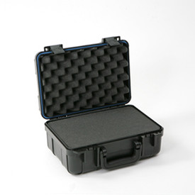UK 613 UltraCase Product Protector - Open black travel carry case with empty interior, black handle, blue lining, and black clips.