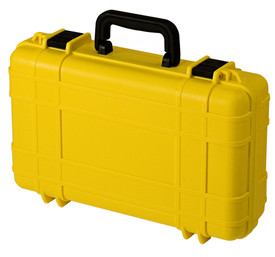 UK 416 UltraCase Product Protector - Closed bright yellow travel carry case with ridges, black clips, and black handle.