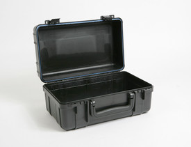 UK 916 UltraCase Product Protector - Open black travel carry case with empty interior, black handle, blue lining, and black clips.