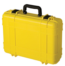 UK 518 UltraCase Product Protector - Closed bright yellow travel carry case with ridges, black clips, and black handle.