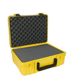UK 718 UltraCase Product Protector - Open yellow travel carry case with foam padded interior, black handle, and black clips.