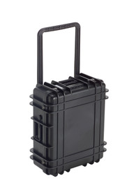 UK 822 Transit Case Protector - Medium size hard black plastic transit case with ridges, side handles, and large main handle.
