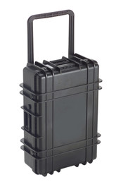 UK 827 Transit Case Protector - Large size hard black plastic transit case with ridges, side handles, and large main handle.