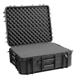 UK 1022 LoadoutCase Protector - Medium size hard black plastic transit case with ridges, side handles, and large main handle, shown open and with foam.