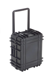 UK 1022 Transit Case Protector - Black plastic hard transit case with crossed ridges and handle - locked.