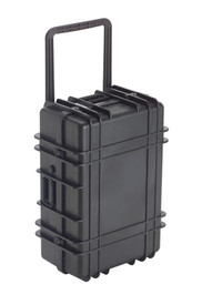 UK 1027 LoadoutCase Protector - Large size hard black plastic transit case with ridges, side handles, and large main handle.