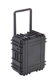 UK 1122 LoadoutCase Protector - Medium size hard black plastic transit case with ridges, side handles, and large main handle.