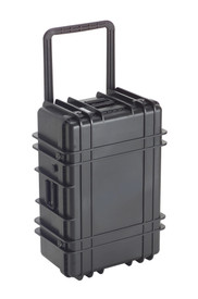 UK 1127 LoadoutCase Protector - Large size hard black plastic transit case with ridges, side handles, and large main handle.