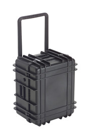 UK 1322 LoadoutCase Protector - Medium size hard black plastic transit case with ridges, side handles, and large main handle.