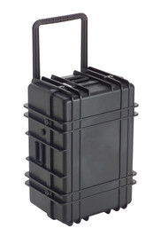 UK 1327 Transit Case Protector - Large size hard black plastic transit case with ridges, side handles, and large main handle.