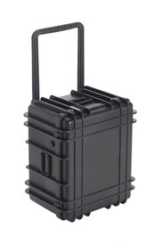 UK 1422 Transit Case Protector - Medium size hard black plastic transit case with ridges, side handles, and large main handle.