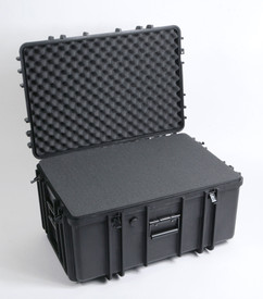 UK 1427 LoadoutCase Protector - Large black plastic transit case with ridges, side handles, and large main handle, shown open and with foam.