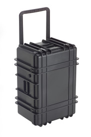 UK 1427 Transit Case Protector - Large black plastic transit case with ridges, side handles, and large main handle.