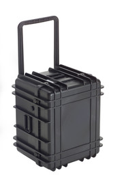 UK 1622 LoadoutCase Protector - Medium size hard black plastic transit case with ridges, side handles, and large main handle.