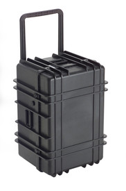 UK 1627 LoadoutCase Protector - Large hard black plastic transit case with ridges, side handles, and large main handle.
