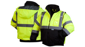 Pyramex Class 3 Hi Viz 2 Tone Lined Bomber Jacket - Front and Back View of  Black bottom and yellow top Hi-Viz Bomber jacket with front zipper and silver reflective tape around the entire lower chest, 2 silver reflective tape going up the front of the jacket starting at the horizontal tape and going over the shoulders and down the back and 2 silver reflective tape around each arm below the elbow and above the elbow and also has two front slit zippered pockets on the right and left side and top left chest clear pocket