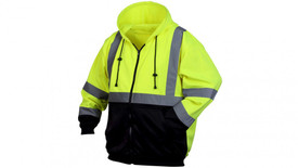 Pyramex Class 3 Hi-Viz Front Zipper Hoodie - Front view of black bottom and Hi-Viz yellow top hooded front zipper sweatshirt with drawstring hood and 2 front pockets and silver reflective tape around the upper waist and 2 silver reflective tape going from the horizontal tape up to both shoulders and down over the back and 2 silver reflective tape on each arm around the wrist and below the elbow