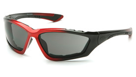 Pyramex Accurist Sporty Safety Glasses with FR Foam Padding - Foam padded black and red frame safety glasses with gray  lenses, angled front view