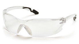 Pyramex Achieva Frameless Safety Glasses - Clear frame safety glasses with clear lenses and gray rubber temples, angled front view