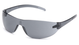 Pyramex Alair Safety Glasses Scratch Resistant - Clear frame safety glasses with hard gray  lenses for quality eye protection, angled front view