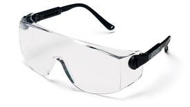 Pyramex Defiant Safety Glasses with 4 Temple Adjustments - Clear frame wide view safety glasses with clear lenses and black temples, angled front view