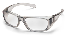 Pyramex Emerge Plano & Reader Safety Glasses - Gray frame safety glasses with clear (+1.5) lenses and curved ergonomic temples, angled front view