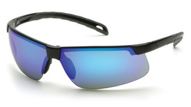 Pyramex Ever-Lite Scratch Resistant Safety Glasses - Black frame safety glasses with blue mirrored lenses and durable scratch resistance glass, angled front view