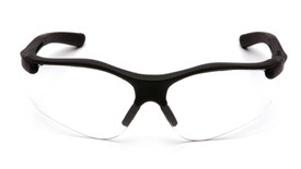 Pyramex Fortress Adjustable Nose Pad Safety Glasses - Black half frame safety glasses with clear lenses and adjustable nose pads, front view