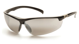 Pyramex Forum PVC Nose Piece Safety Glasses - Black half frame safety glasses with silver mirrored scratch resistant lenses, angled front view