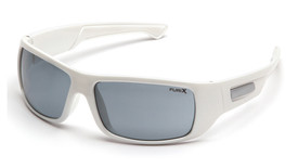 Pyramex Furix Lightweight Wraparound Safety Glasses - White full frame wraparound safety glasses with gray lenses and maximum protected area, angled front view