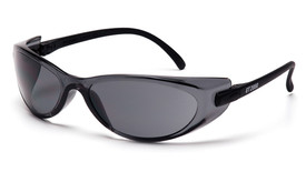 Pyramex GT2000 Frameless Safety Glasses - Black temple frameless safety glasses with gray scratch resistant, angled front view