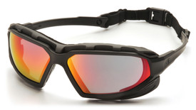 Pyramex Highlander Plus Indirect Vented Safety Glasses - Black full frame safety glasses with red anti fog lenses and back cord, angled front view