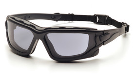 Pyramex I-Force Vented Foam Carriage Safety Glasses - Black full padded foam frame safety glasses with gray anti fog lenses and back cord, angled front view