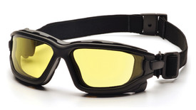 Pyramex I-Force Slim Interchangeable Safety Glasses - Black full foam padded frame safety glasses with amber lenses and back strap, angled front view