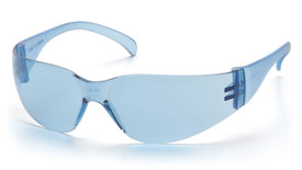 Pyramex Intruder Lightweight Safety Glasses - Blue full frame safety glasses with hard blue lenses and temples, angled front view
