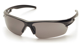 Pyramex Ionix Ventilated Safety Glasses - Black half frame safety  glasses with gray protective lenses, angled front view