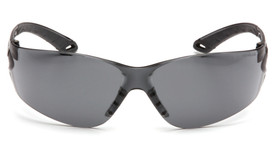 Pyramex Itek Lightweight Frameless Safety Glasses - Gray full frame lightweight safety glasses with gray lenses and gray temples, front view