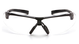 Pyramex Onix Cushioned Temple Safety Glasses - Black cushioned half frame safety glasses with clear anti fog lenses, front view