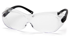 Pyramex OTS XL Fit Over Safety Glasses - Clear frame safety glasses with clear lenses, black temples, and side protection, angled front view