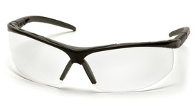 Pyramex Pacifica Vented Frame Safety Glasses - Black half frame adjustable safety glasses with clear lenses and rubber nose pads, angled front view