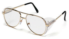 Pyramex Pathfinder Metal Frame Safety Glasses - Aviator style gold metal frame safety glasses with clear lenses and rubber temples, angled front view