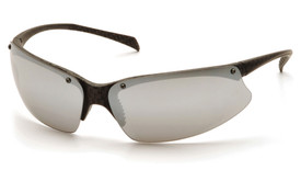 Pyramex PMX5050 Non-Slip Safety Glasses - Carbon styled black half frame safety glasses with silver mirrored lenses and comfortable non slip nose pads, angled front view