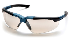 Pyramex Reatta Vented Lens Safety Glasses - Matte black and blue half frame lightweight safety glasses with mirrored lenses, angled front view