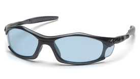 Pyramex Solara Straight Back Temples Safety Glasses - Black full frame safety glasses with blue lenses and black temples, angled front view