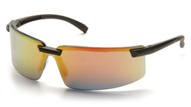 Pyramex Surveyor Wrap-around Safety Glasses - Black half frame safety glasses with orange mirrored lenses and black curved temples, angled front view