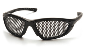 Pyramex Trifecta Punched Steel Safety Glasses - Black full frame  safety glasses with dotted steel mesh lenses, angled front view