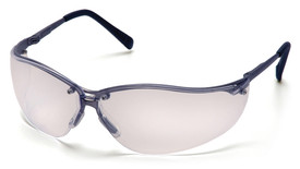 Pyramex V2-Metal Frame Safety Glasses - Metallic half frame safety glasses with clear lenses and rubber temples, angled front view