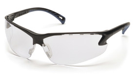 Pyramex Venture 3 Ventilated & Adjustable Nose Safety Glasses - Black half frame safety glasses with clear anti fog lenses and adjustable fit temples, angled front view
