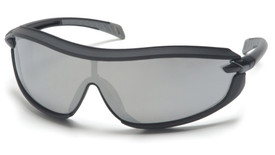 Pyramex XS3 Sporty Safety Glasses - Black full frame stylish safety glasses with silver mirrored lenses, angled front view